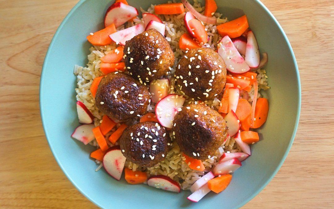 Teriyaki Glazed Vegan Meatballs